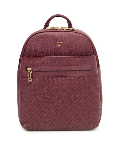 Da Milano Unisex Purple Solid Backpack