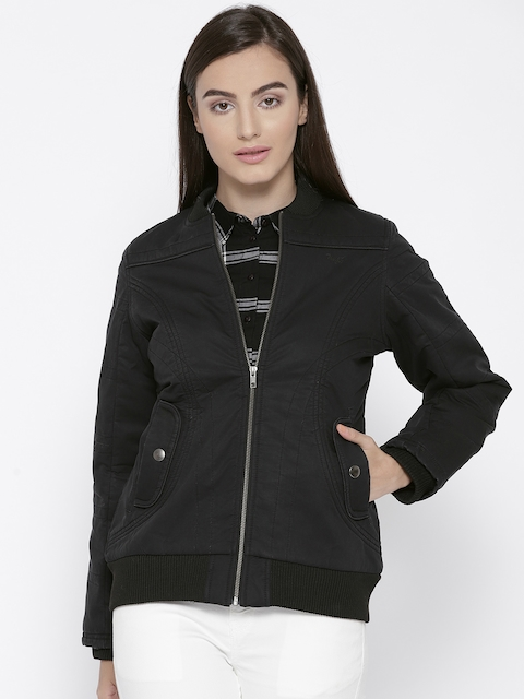 Trufit Women Black Solid Insulator Bomber