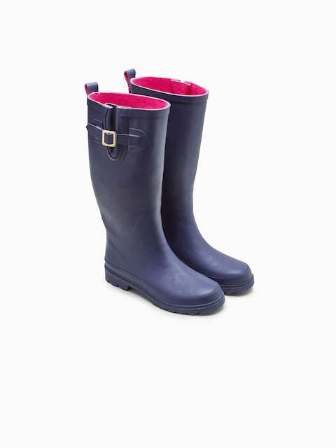 next Women Blue Solid Synthetic High-Top Flat Boots