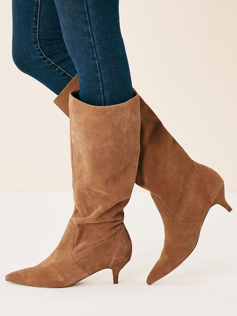 next Women Tan Brown Solid Heeled Boots