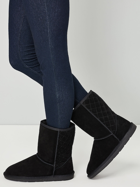 next Women Black Solid Mid-Top Flat Boots