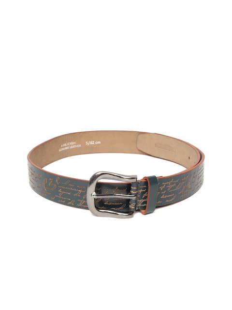 Ruosh Men Teal Blue Leather Textured Belt