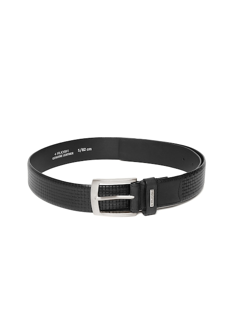 Ruosh Men Black Leather Textured Belt