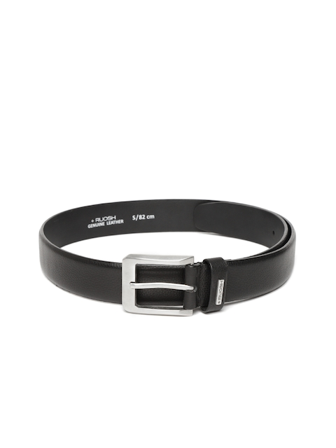 Ruosh Men Black Leather Solid Belt