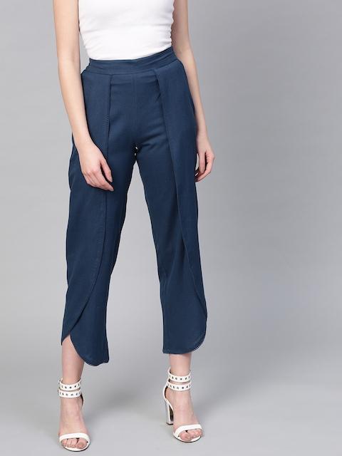 SASSAFRAS Women Navy Blue Solid Cropped Dhoti Pants