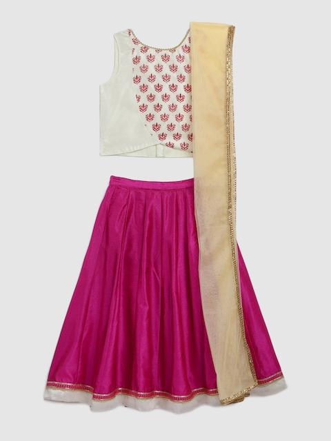 YK Girls Off-White & Pink Embellished Ready to Wear Lehenga & Blouse with Dupatta