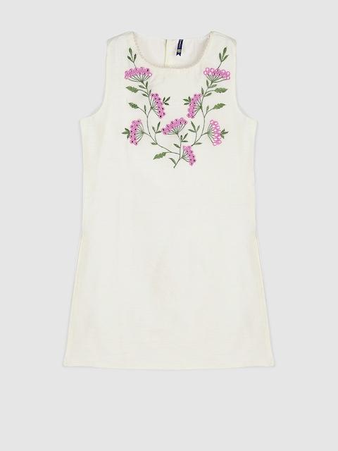 YK Girls Off-White Embroidered A-Line Kurta