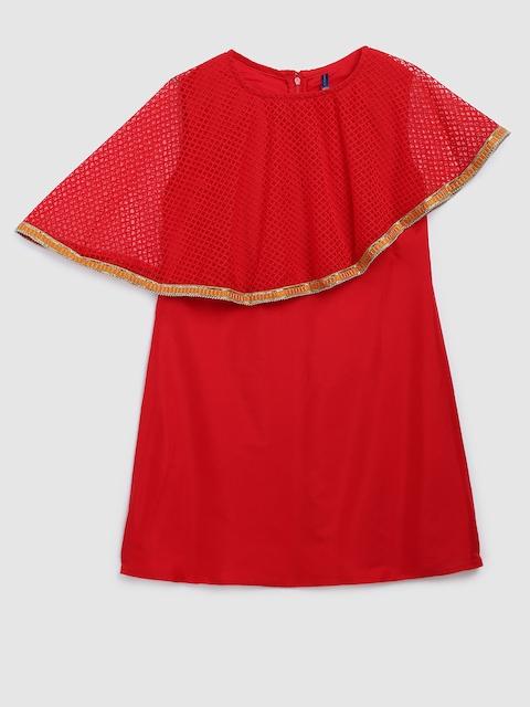 YK Girls Red Solid A-Line Kurta