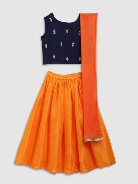 YK Girls Navy Blue & Orange Embroidered Ready to Wear Lehenga & Blouse with Dupatta