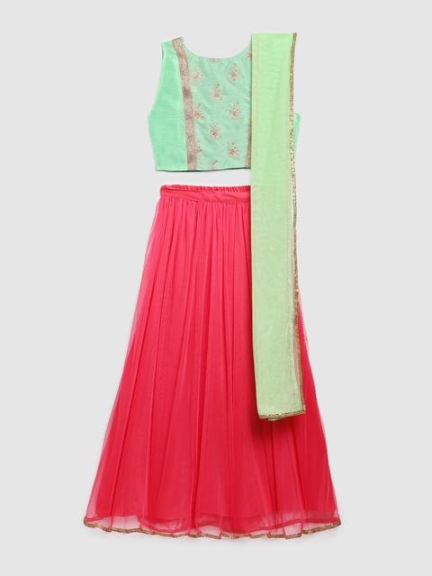 YK Girls Green & Pink Embellished Ready to Wear Lehenga & Blouse with Dupatta