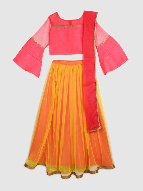 YK Girls Pink & Yellow Solid Ready to Wear Lehenga & Blouse with Dupatta
