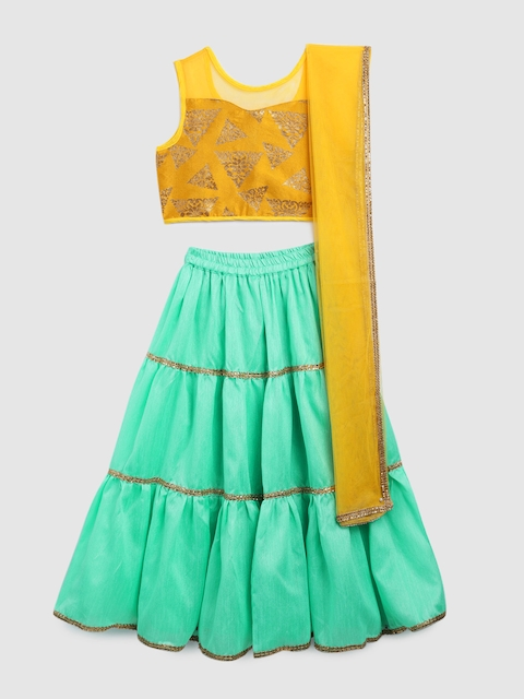 YK Girls Yellow & Sea Green Embroidered Ready to Wear Lehenga & Blouse with Dupatta