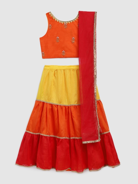 YK Girls Orange & Red Solid Ready to Wear Lehenga & Blouse with Dupatta