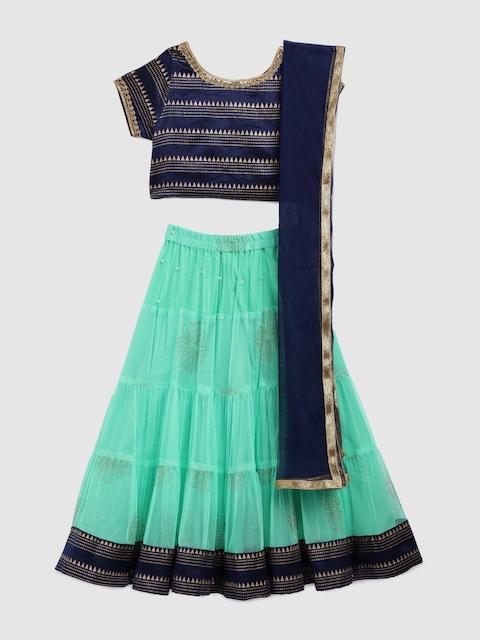YK Girls Navy Blue & Sea Green Embellished Ready to Wear Lehenga & Blouse with Dupatta