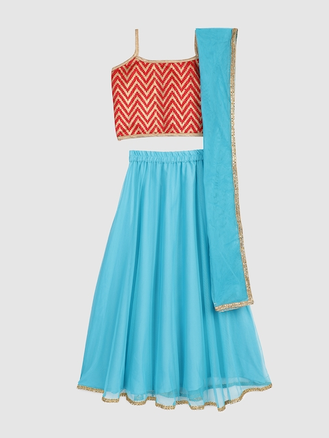 YK Girls Red & Turquoise Blue Printed Ready to Wear Lehenga & Blouse with Dupatta