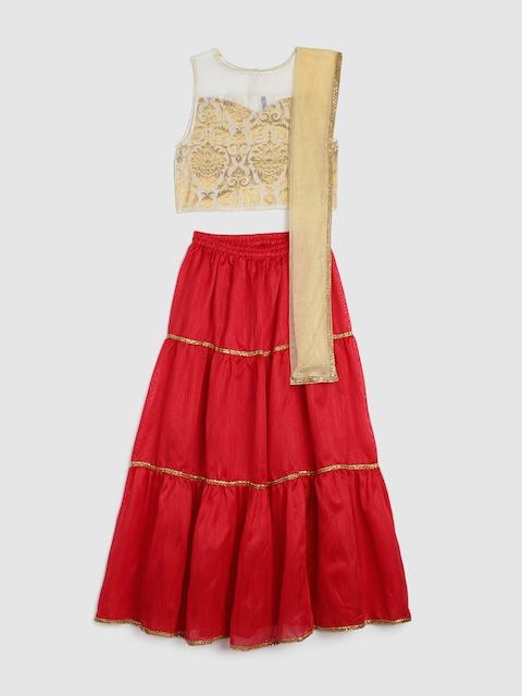 YK Girls Beige & Red Printed Ready to Wear Lehenga Choli with Dupatta