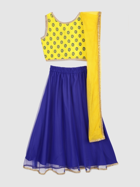 YK Girls Yellow & Blue Printed Ready to Wear Lehenga & Blouse with Dupatta