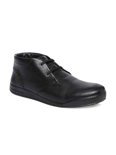 Woodland Men Black Leather Derbys