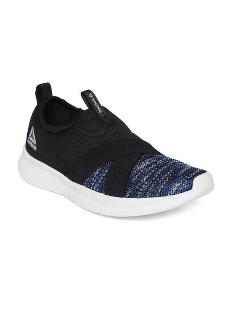 Reebok Women Navy & Black Tread Leap Slip On Woven Design Walking Shoes