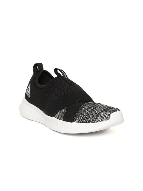 Reebok Women Black & Grey Tread Leap Slip On Walking Shoes