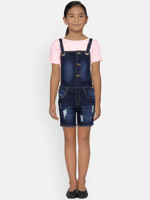 Fame Forever by Lifestyle Girls Navy Blue Denim Distressed Dungarees