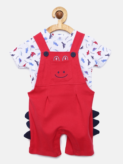 Juniors by Lifestyle Boys Red Dungarees With Tshirt