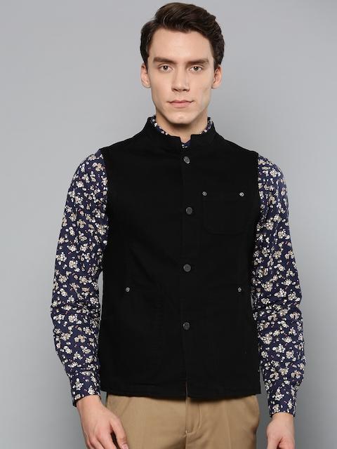 Blackberrys Men Black Denim Solid Slim Fit Nehru Jacket
