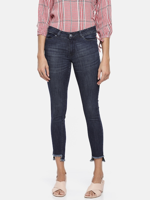 Allen Solly Woman Women Blue Slim Fit Mid-Rise Clean Look Stretchable Cropped Jeans