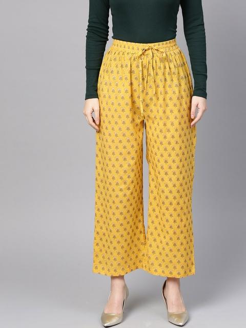 Varanga Women Yellow Printed Straight Palazzos