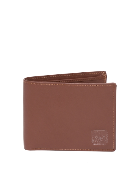 Woodland Men Brown Leather Solid Two Fold Wallet