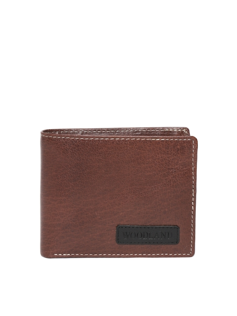 Woodland Men Brown Leather Two Fold Wallet
