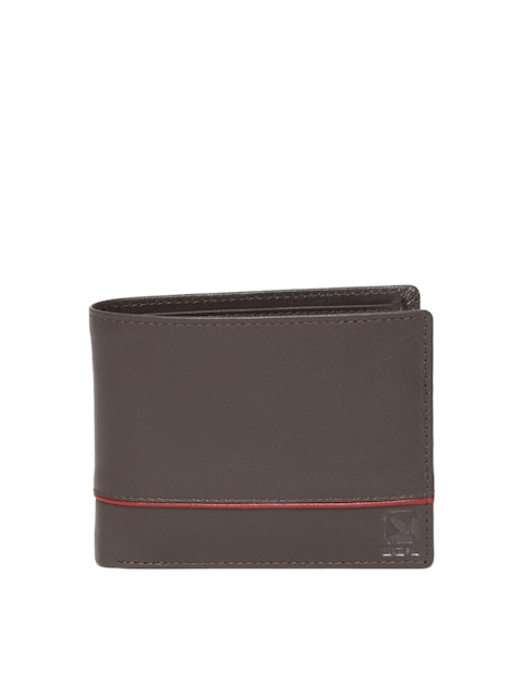 Woodland Men Coffee Brown Leather Solid Two Fold Wallet