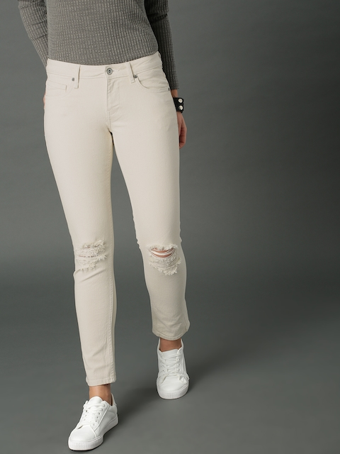 Roadster Women Beige Slim Fit Mid-Rise Clean Look Stretchable Jeans