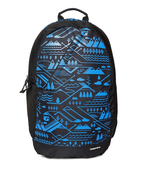 Gear Unisex Black & Blue Graphic Backpack