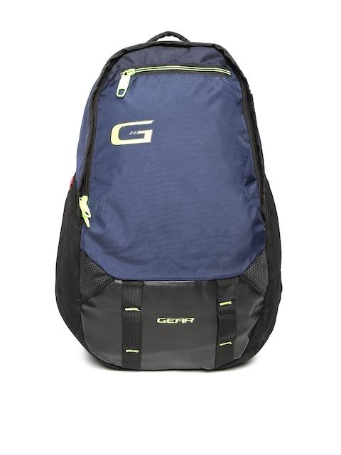 Gear Unisex Navy Blue & Black Colourblocked Backpack