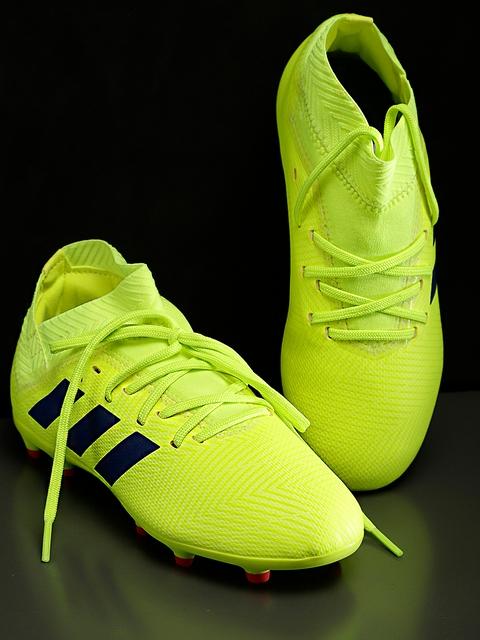ADIDAS Boys Fluorescent Green NEMEZIZ 18.3 Firm Ground Football Shoes