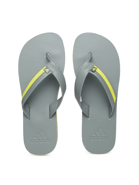 Adidas Men Grey & Yellow Brizo 3.0 Flip-Flops