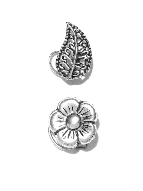FIROZA Set of 2 Oxidised Silver-Toned Nosepins