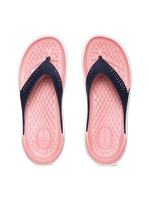 Crocs Unisex Navy Blue & Pink LiteRide Thong Flip-Flops