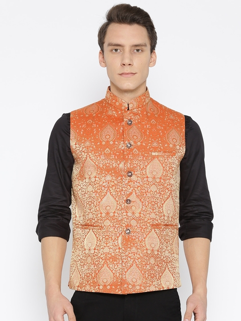 Routeen Men Orange Woven Design Slim Fit Banarasi Silk Nehru Jacket