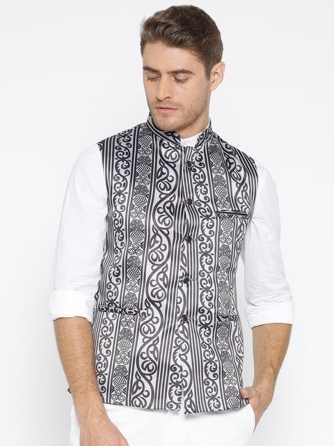 Routeen Men Grey & Black Slim Fit Printed Nehru Jacket