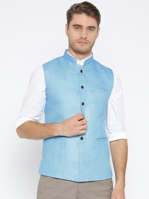 Routeen Men Blue Solid Slim Fit Nehru Jacket