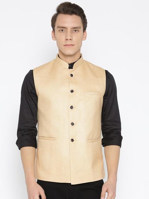 Routeen Men Beige Solid Slim Fit Nehru Jacket