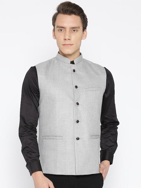 Routeen Men Grey Solid Slim Fit Nehru Jacket