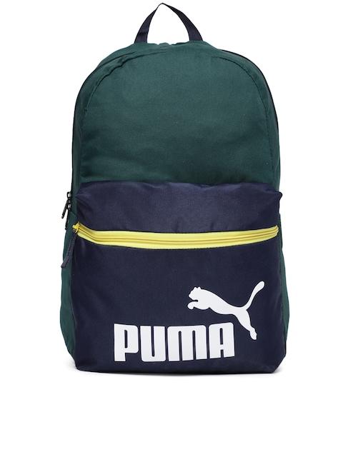 Puma Unisex Green & Blue Brand Logo Phase Backpack