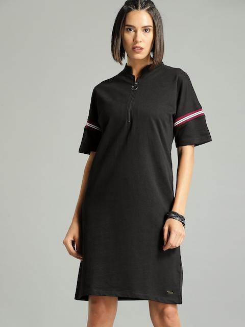 Roadster Women Black Solid A-Line Dress