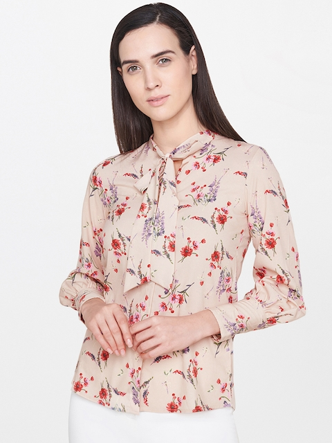 AND Women Beige Regular Fit Printed Casual Shirt