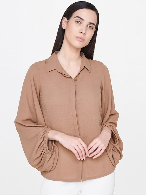 AND Women Brown Regular Fit Solid Casual Shirt with Puff Sleeves