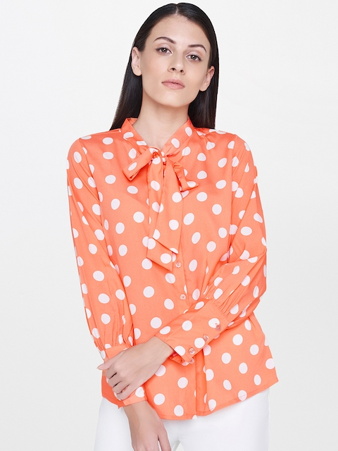 AND Women Peach-Coloured & White Regular Fit Printed Casual Shirt with Tie-Up Neck