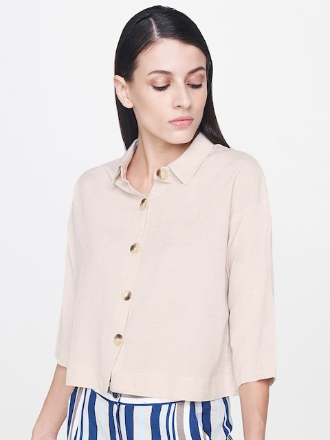 AND Women Beige Regular Fit Solid Casual Shirt
